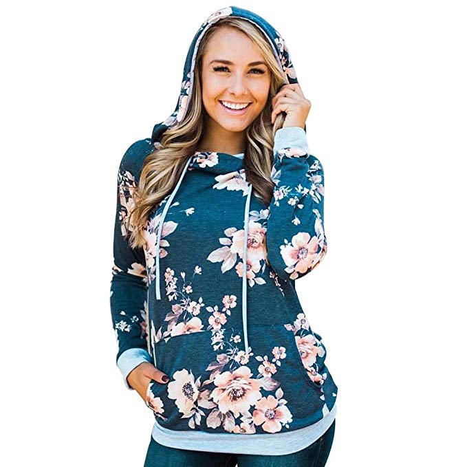 Hoodies Sweatshirt Pockets Floral,Flowers Blooming Branches,Sweatshirts for Women