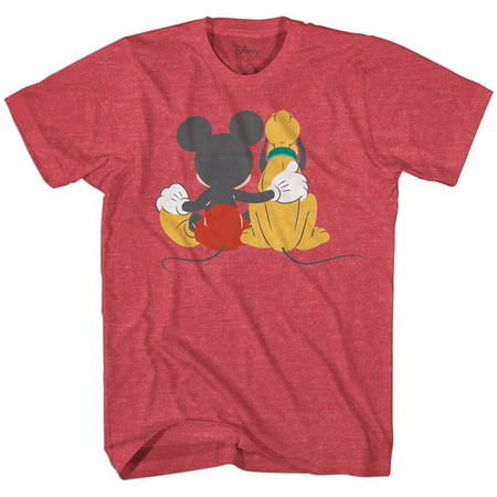 Disney Mickey Mouse & Pluto Back Disneyland World Tee Funny Humor Adult Mens Graphic T-Shirt Apparel](Disney T Shirts For Adults)