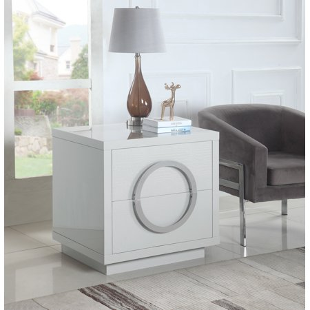 Chic Home Norcia Nightstand Side Table Crocodile Lacquer Finish with 2 Self Closing Drawers, Modern Contemporary, White