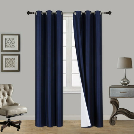(SSS) 2-PC Navy Blue Solid Blackout Room Darkening Panel Curtain Set, Two (2) Window Treatments of 37