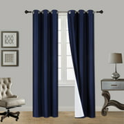"""(SSS) 2-PC Navy Blue Solid Blackout Room Darkening Panel Curtain Set, Two (2) Window Treatments of 37"""" Wide x 84"""" Length Each Panel"""