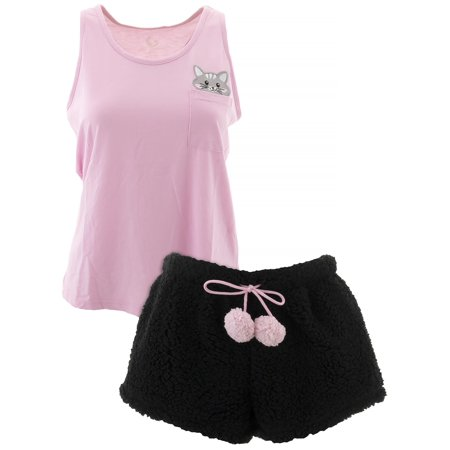 PJ Couture Women's Pocket Cat Pink Short Pajamas