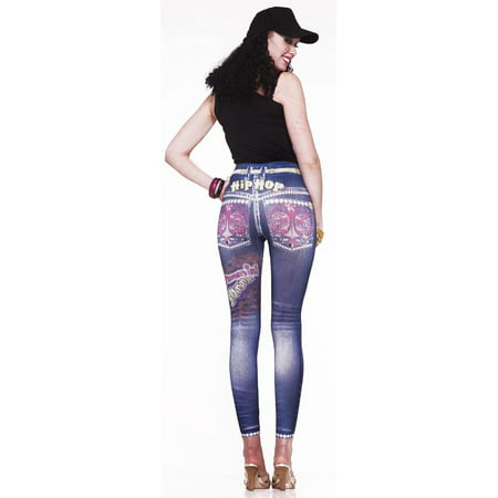 Graphic Printed Hip Hop Jean Costume Leggings Adult - Costumes For Hip Hop