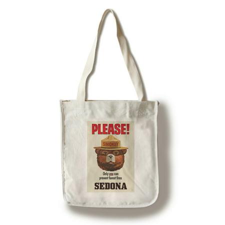 Sedona, Arizona - Smokey Bear Vintage Poster - Only You Can Prevent Forest Fires - Lantern Press Artwork (100% Cotton Tote Bag - Reusable)