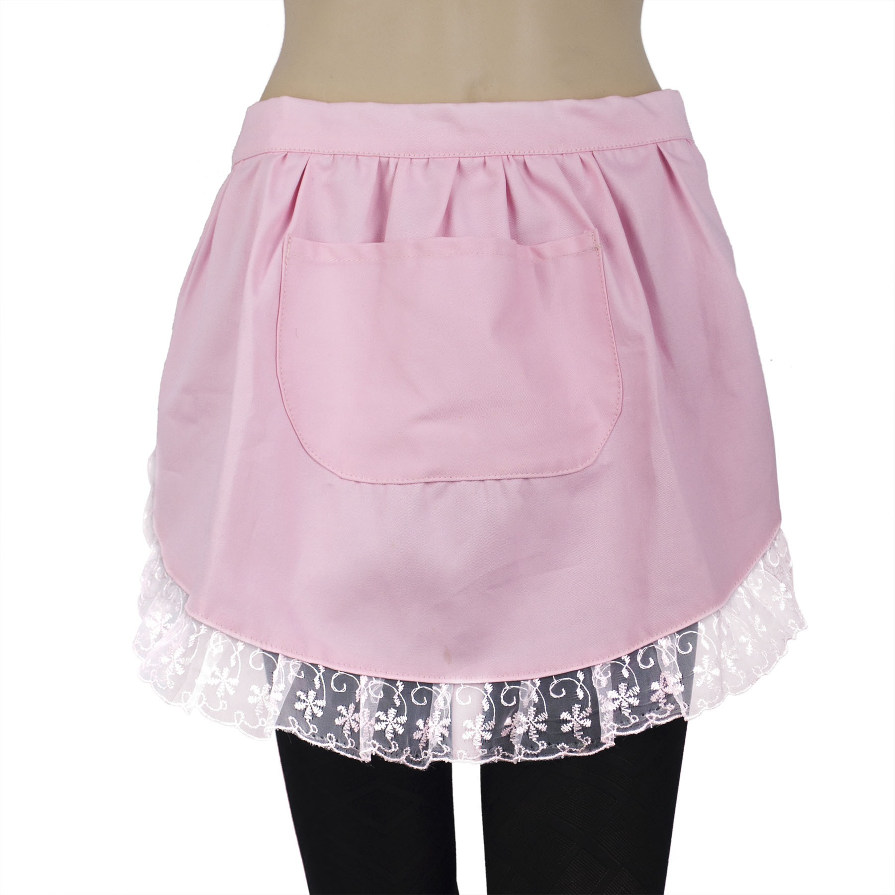 Aspire Lace Adult Half Apron, Cotton Cooking Apron Perfect for Coffee House with Pocket-Pink-M