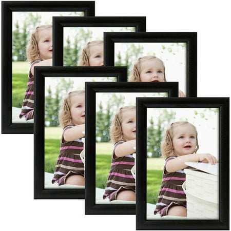 "Black Bullnose 4"" x 6"" Frame, Set of 6"