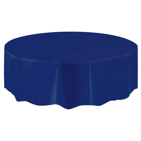 (3 Pack) Plastic Round Tablecloth, 84 in, Navy Blue, 1ct ()