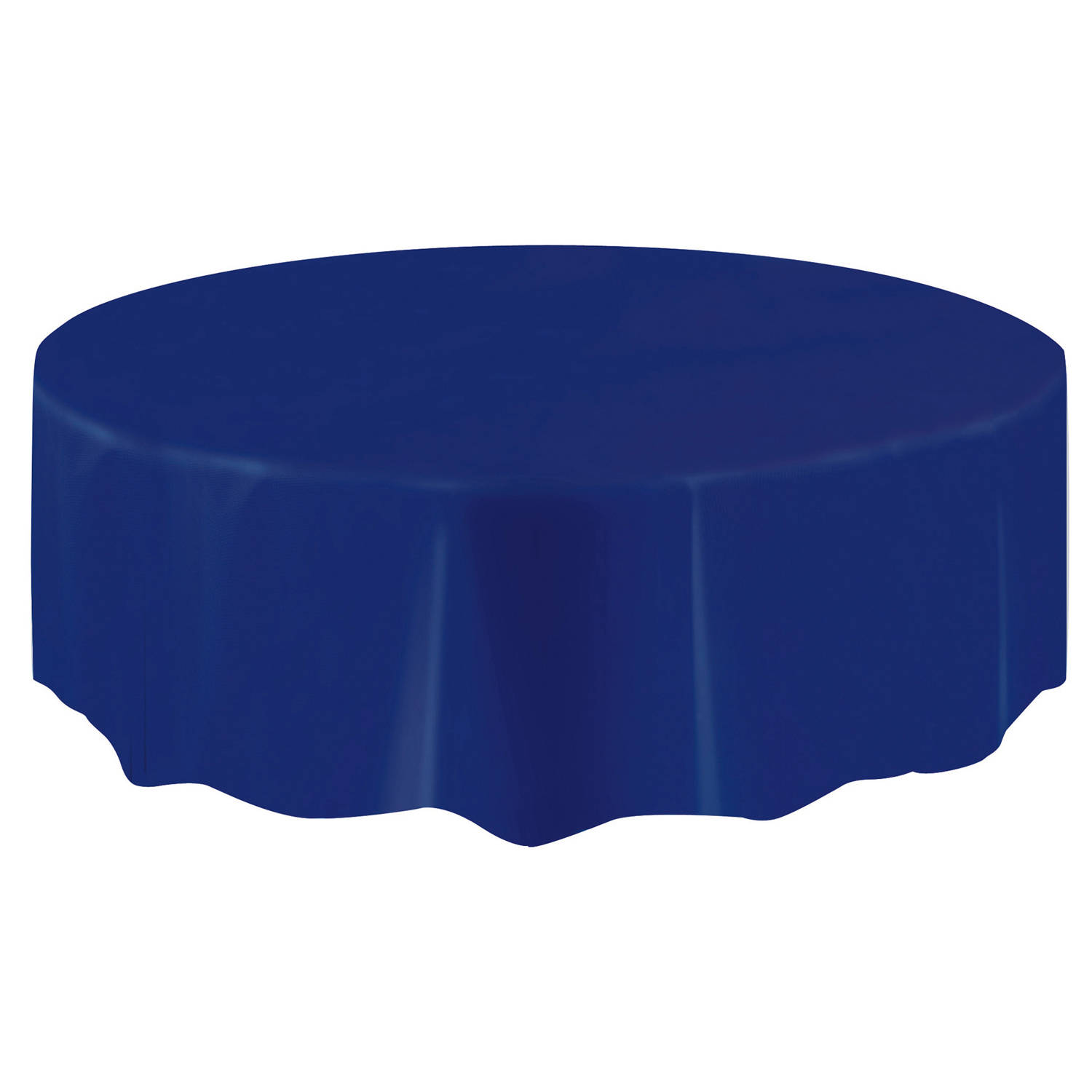 Plastic Round Tablecloth, 84 In, Navy Blue, 1ct