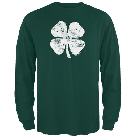 St. Patricks Day - Distressed Shamrock Forest Adult Long Sleeve T-Shirt - Shamrock Skirt