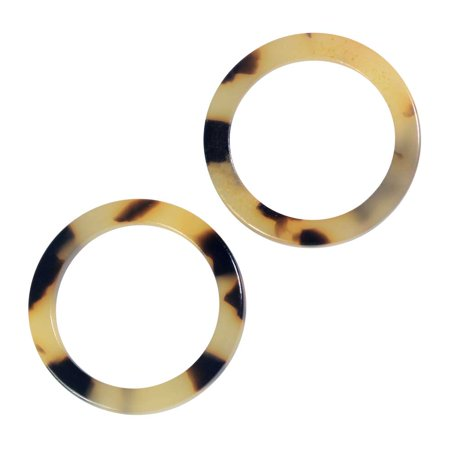 Zola Elements Acetate Connector Link, Circle 24mm, 2 Pieces, Light Brown Tortoise Shell