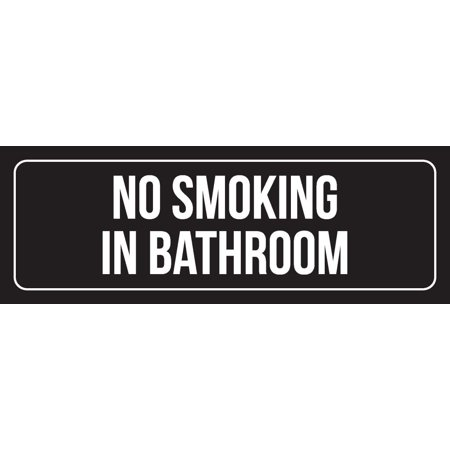 Black Background With White Font No Smoking In Bathroom Metal Wall Sign, 3x9 Inch ()