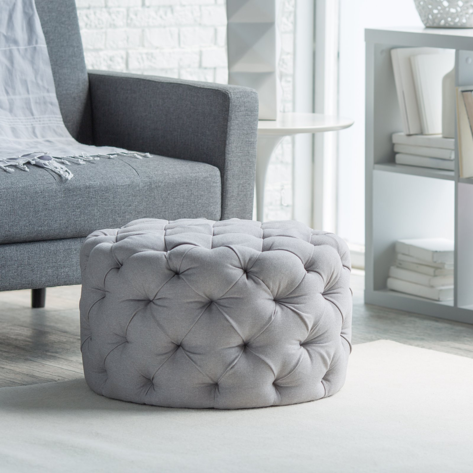 Belham Living Allover Round Tufted Ottoman Grey by