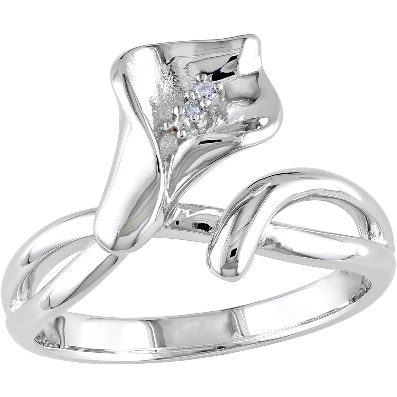 Miabella Diamond-Accent Sterling Silver Calla Lily Flower Ring