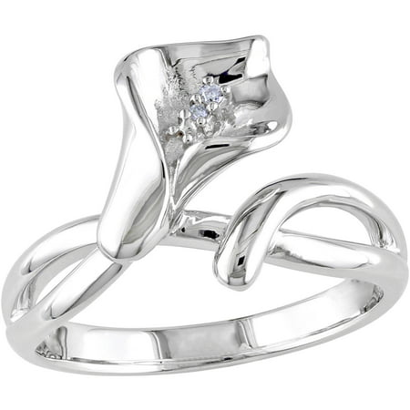 Diamond-Accent Sterling Silver Calla Lily Flower Ring (Calla Lily Ring)