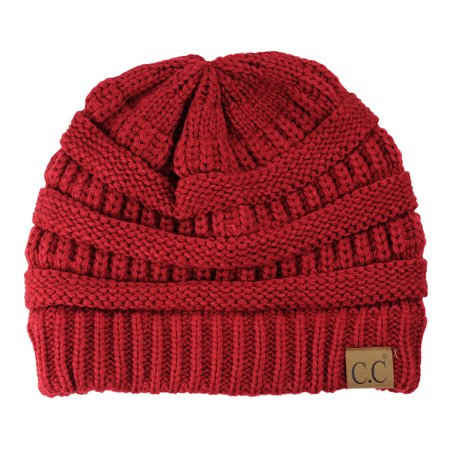 Trendy Warm Chunky Soft Stretch Cable Knit Beanie Skully, (Deep Stretch Beanie)