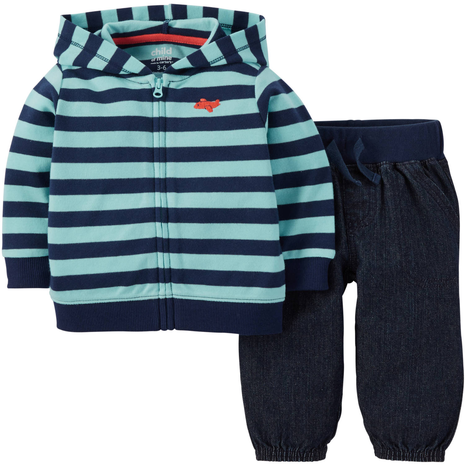 Child of Mine made by Carter's Newborn Baby Boys' Hoodie and Pant Outfit Set 2 Pieces