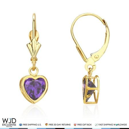 14K Solid Yellow Gold Bezel Set Heart Shaped Amethyst Dangle Lever Back Earrings