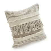 """LR Home Zanthia Alabaster Stripe Beige / Natural 20"""" x 20"""" Indoor Square Hand - Crafted Throw Pillow"""