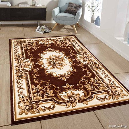 Allstar Dark Brown Woven High Quality Rug Traditional Persian Flower Western Design Area 7 X 10 6