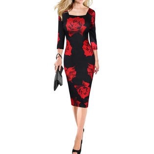 cb6d9685205 Junior Printed Square Neck Slim Bodycon Dress