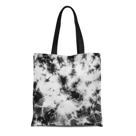 KDAGR Canvas Bag Resuable Tote Grocery Shopping Bags Abstract Tie Dyed Black White Pattern on Hand Fabrics Shibori Dyeing Batik Tote Bag