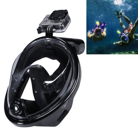 AMZER Water Sports Diving Equipment Full Dry Diving Mask Swimming Glasses for GoPro NEW HERO /HERO6 / 5 /5 Session /4 /3+ /3 /2 /1, M Size - Black (Go Pro Hero 4 Dive Mask)