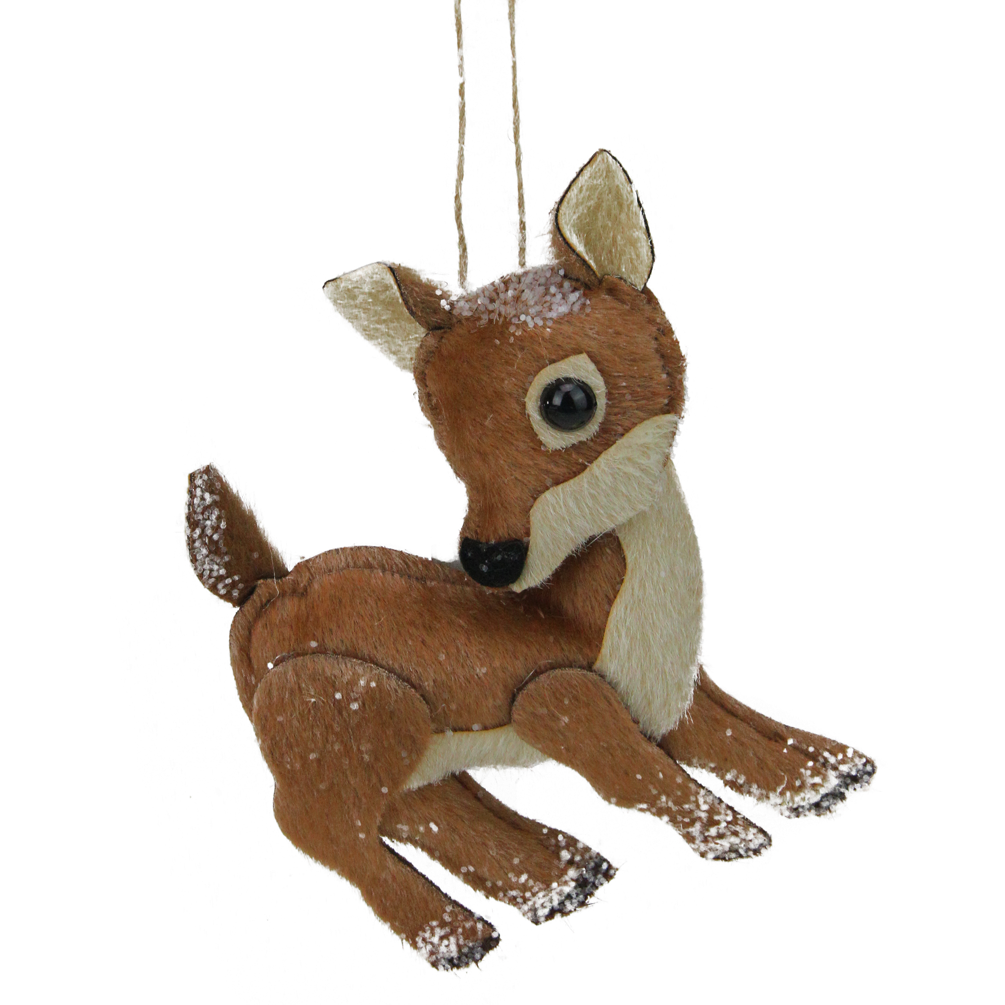 Brown and White Stuffed Deer Christmas Ornament
