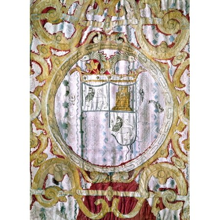 Francisco Pizarro N C1475 1541  Spanish Conqueror Of Peru Coat Of Arms Of Pizarro Tapestry Spanish 16Th Century Rolled Canvas Art     24 X 36