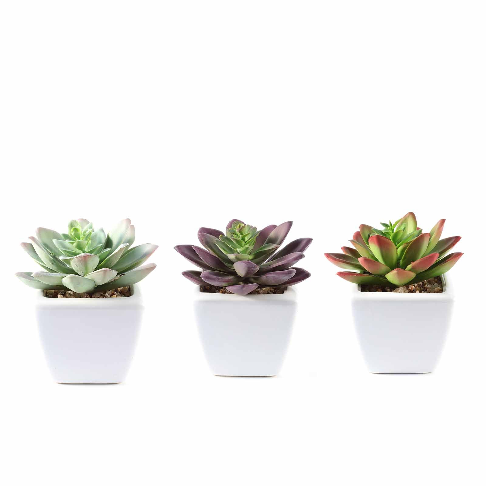 FEILANDUO Set of 4 Mini Artificial Plants Potted Fake Bonsai Ball Plant Faux Green Grass in White Plastic Pots for Outdoor and Indoor Home Desk Decor 4