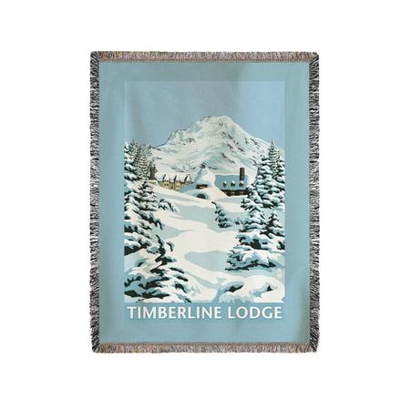Mt. Hood, Oregon - Timberline Lodge Winter Scene - Lantern Press Artwork (60x80 Woven Chenille Yarn (Timberline Lodge Mt Hood Oregon)