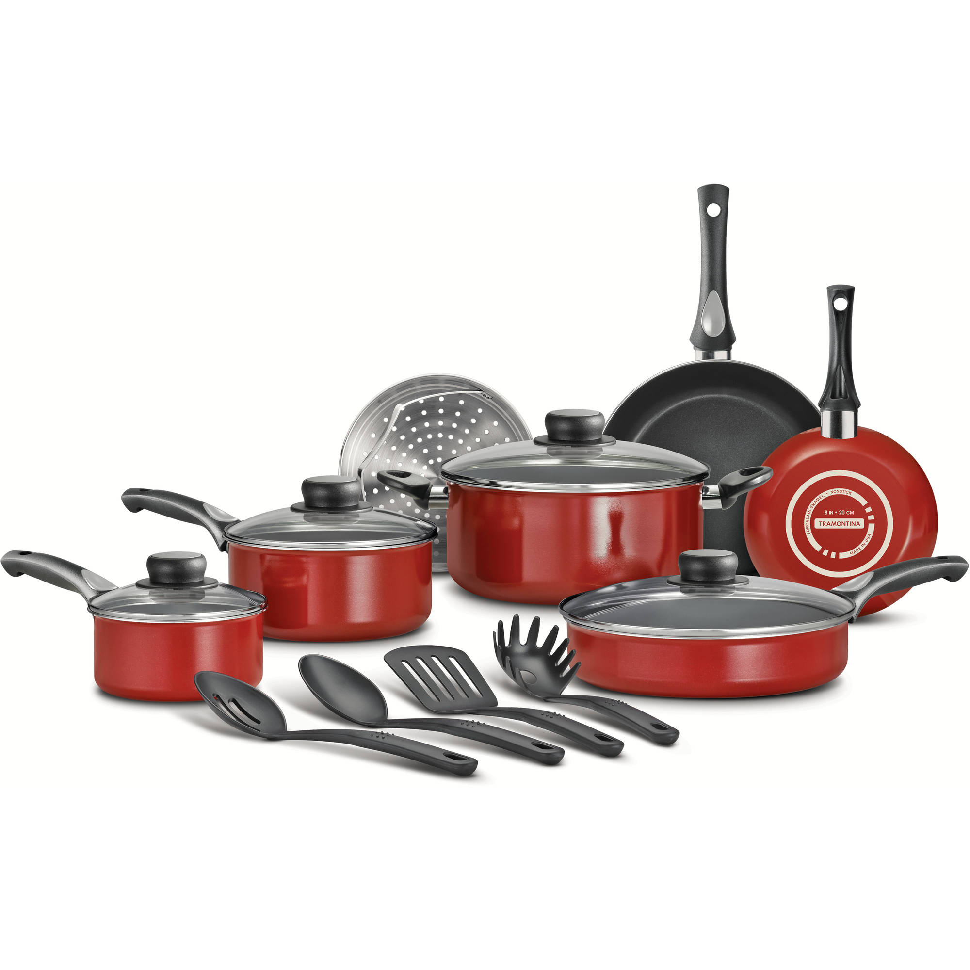 Tramontina 15-Piece Select Non-Stick Cookware Set, Cayenne Red