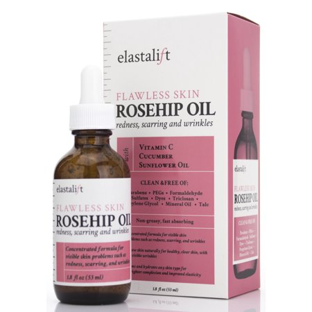 1.8 fl oz Elastalift Rosehip Oil for face with Vitamin C and Cucumber. Pure Rosehip face oil helps with Wrinkles, Scarring, and Redness for a brighter skin complexion.  (53 ml)