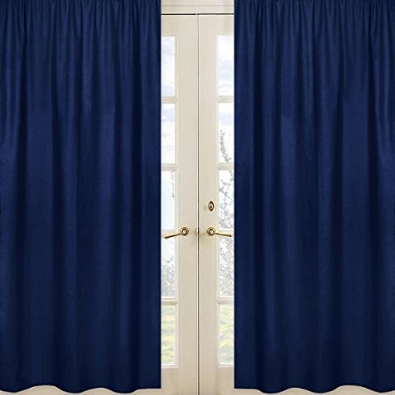 Navy Blue Window Treatment Panels for Kids Teens Boys Stripe Collection - Set of 2