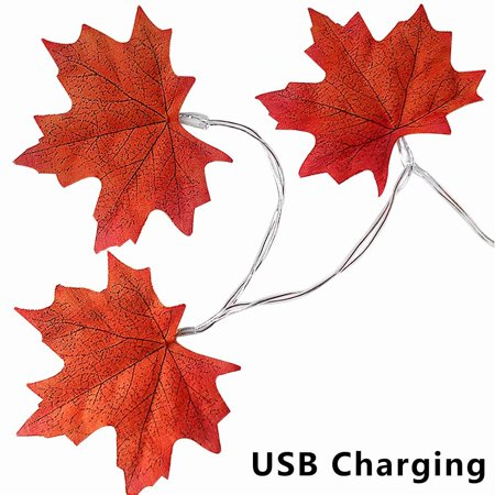Thanksgiving String Light, 20 LEDs Maple Leaves Garland LED USB Charging String Lamp Party Fairy Light Christmas - Thanksgiving Decal