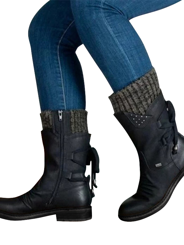 Womens Winter Lace Up Mid Calf Boots Combat Booties Knitted Flat Zip Warm Shoes
