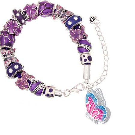 Silvertone Large Translucent Hot Pink & Blue Flying Butterfly Purple Butterfly Bead (Glass Transparent Bracelets)