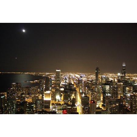 LAMINATED POSTER Skyline Chicago City Night Poster Print 24 x 36 (Party City Hours Chicago)