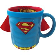 ICUP DC Comics Superman Character Scripted Red Interior 20-Ounce Molded Ceramic Caped Mug