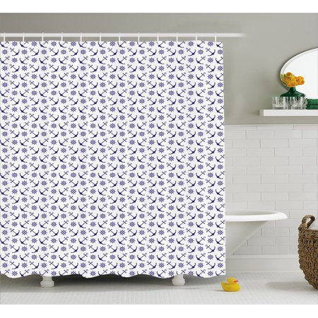 Navy Blue Shower Curtain Anchors With Ships Steering Wheels