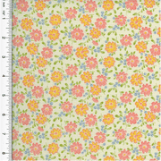 Designer Cotton Multi Floral Print Decorating Fabric, Fabric By the Yard