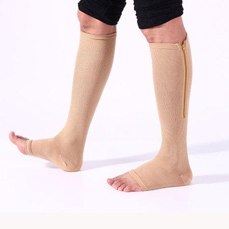 OUTDOORPLAY Zipper Pressure Compression Socks Support Stockings Leg - Open Toe Knee High - 20-30mmHg - Helps Circulation, Varicose Veins, Swollen Legs, Zipper - Nude Regular