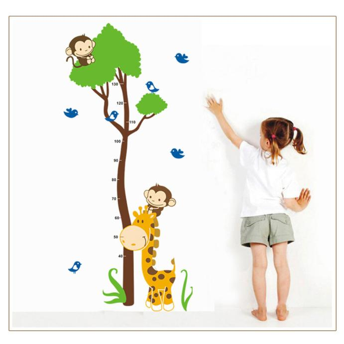 Mosunx Cute Monkey Giraffe Wall Sticker Height Scale Measure Sticker For Baby Kids Room
