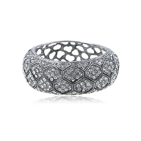 Antique Inspired Silver Tone Elements Crystal Tarnished Cuff Bracelet