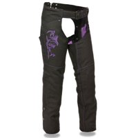 Milwaukee Leather Womens Textile Chaps w/ Tribal Embroidery & Reflective Detail Purple