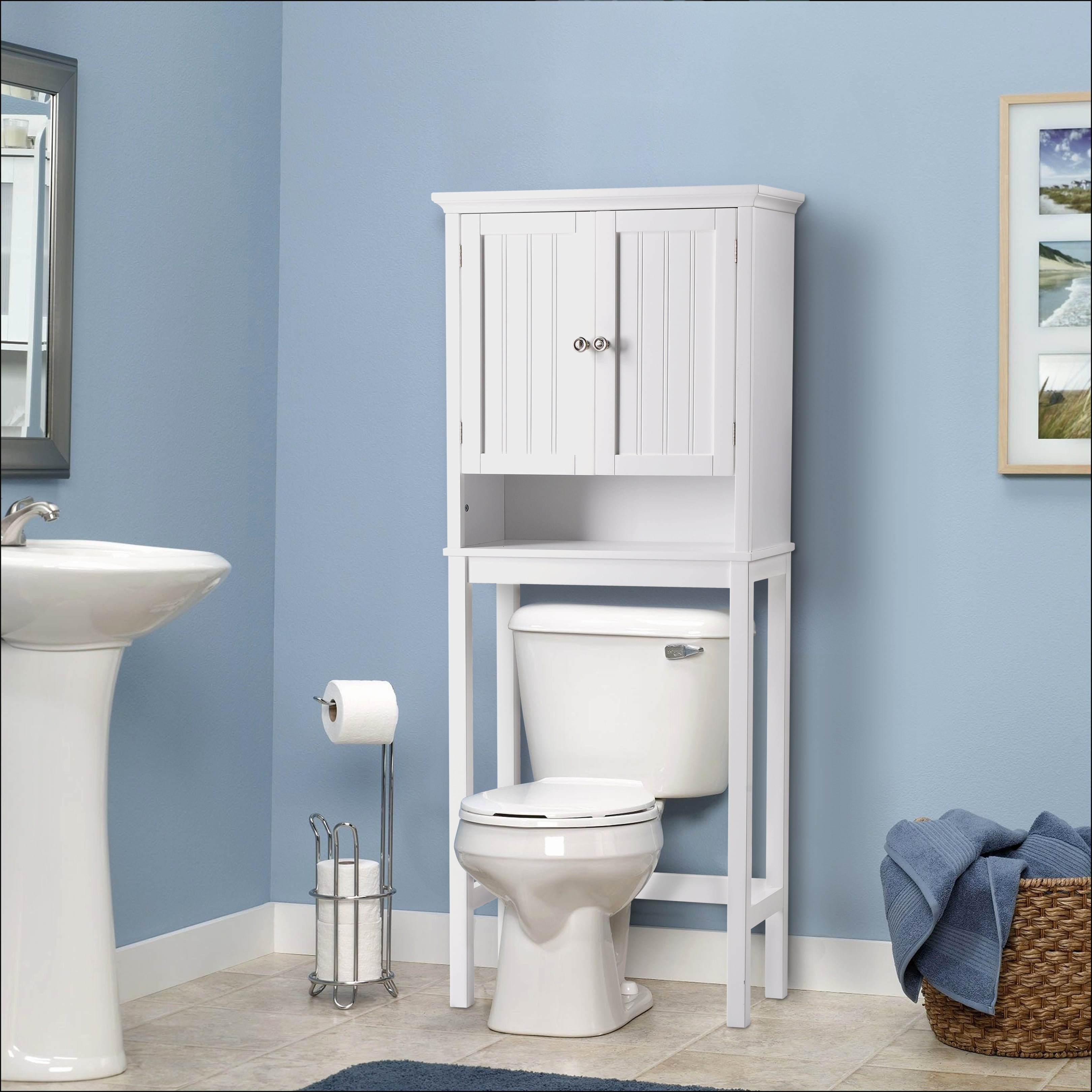 Os Home And Office Furniture Bathroom E Saver Over Toilet Storage Cabinet With Two Doors