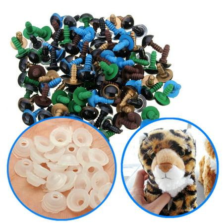 100Pcs 10mm Multicolor Plastic Toy Eyes Safety Eyes Craft DIY Accessory With Washer For Teddy Bear Animal Dolls Plush Animal Toy](Bear Craft)
