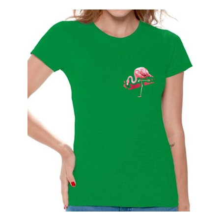 Awkward Styles Flamingo Pocket Tshirt for Women Flamingo Patch Shirts Flamingo T Shirt Women's Flamingo Gifts Flamingo Themed Party Beach Shirts Summer Party T Shirt Pink Flamingo Tshirt for Women](60s Themed Clothing)