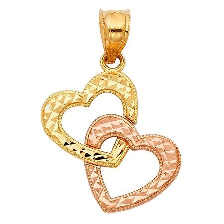 14k Yellow and Rose Gold Intertwined Double Heart Charm Pendant (20mm x 18mm)
