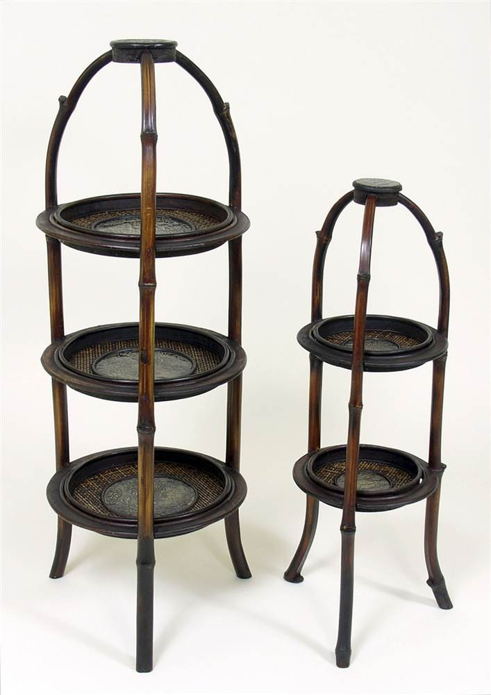 3-Shelf and 2-Shelf Plant Stands in Wood Set of 2 by Antique Reproductions, Inc.