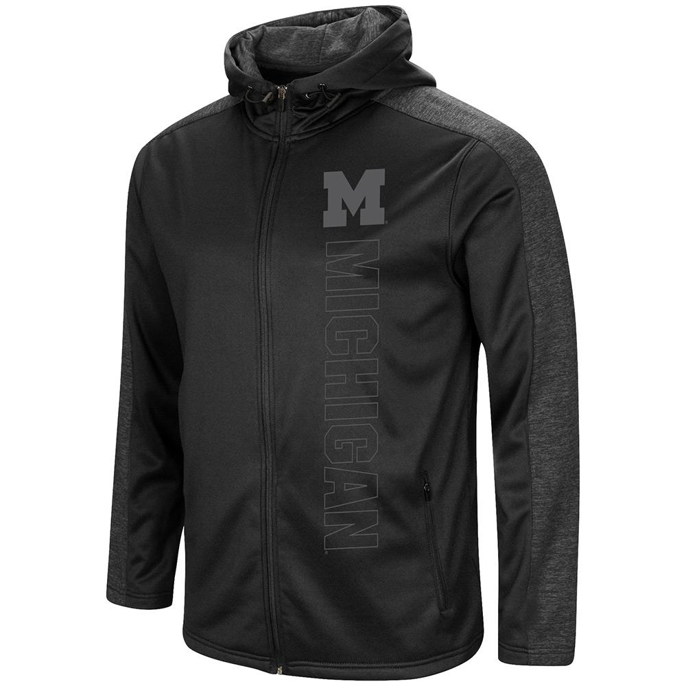 Mens Michigan Wolverines Blackout Full Zip Hoodie S by Colosseum